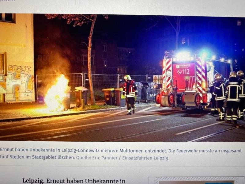 Mülltonnen in Connewitz angezündet