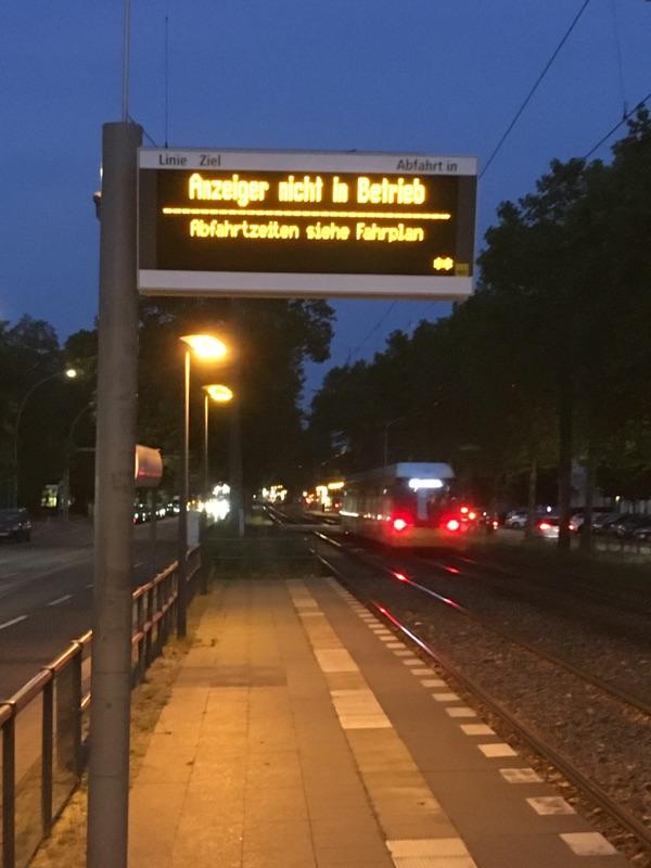 Fahrplananzeiger außer Betrieb