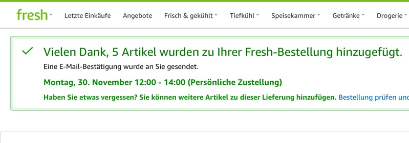 Amazon Fresh: Hinzufügen wieder möglich