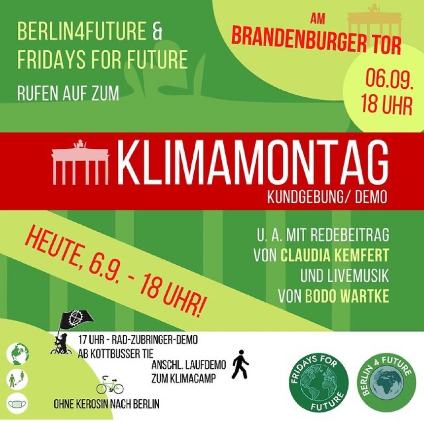 KlimaMontag-Demo ab 18 Uhr am Brandenburger Tor